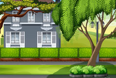 Luxury house by the park. Illustration Royalty Free Stock Photo