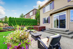 Luxury house with patio area and jacuzzi royalty free stock photo