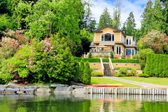 Luxury house with private dock Royalty Free Stock Photo