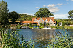 Luxury riverside house on the River Thames, England. royalty free stock photo