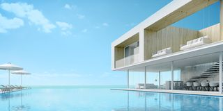 Luxury house with sea view. Modern luxury house with sea view and swimming pool at vacation.3d rendering royalty free illustration