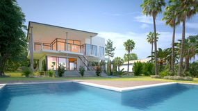 Luxury house with tropical garden and pool. Luxury modern white house or villa with angular walls and large windows overlooking a tropical landscaped garden with vector illustration