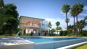 Luxury house with tropical garden and pool. Luxury modern white house or villa with angular walls and large windows overlooking a tropical landscaped garden with royalty free illustration