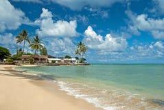 Luxury house on untouched sandy beach stock image