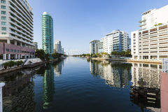 Luxury houses at the canal in Miami Stock Image