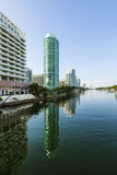 Luxury houses at the canal in Miami Stock Images