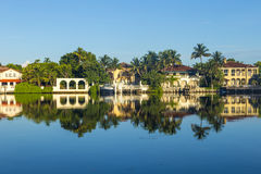 Luxury houses at the canal in Miami Royalty Free Stock Image