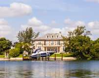 Luxury houses at the canal in Miami Royalty Free Stock Photography