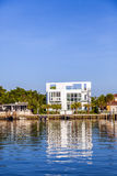 Luxury houses at the canal in Miami Stock Photos