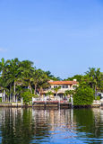 Luxury houses at the canal in Miami Royalty Free Stock Photo