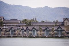 Luxury houses cottage village on the shore of the lake.  Stock Images