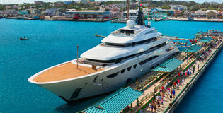 Luxury huge yacht was docked in the cruise passenger pier. Nassau Royalty Free Stock Photography