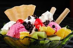 Luxury ice cream dessert. On black background Royalty Free Stock Image