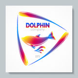 Luxury image logo Rainbow Dolphin. To design postcards, brochures, banners, logos, creative projects. Stock Photo