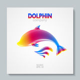Luxury image logo Rainbow Dolphin. To design postcards, brochures, banners, logos, creative projects. Vector illusration. EPS 10 Royalty Free Stock Photos