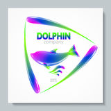 Luxury image logo Rainbow Dolphin. To design postcards, brochures, banners, logos, creative projects. Stock Photos