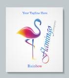 Luxury image logo Rainbow Flamingo. Business design for spa, yoga class, hotel and resort. Vector illusration Royalty Free Stock Photo