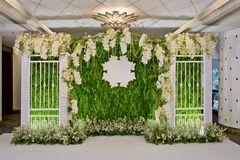 Luxury Indoors Wedding backdrop Decoration. Closeup decoration design of Luxury Indoors Wedding backdrop Royalty Free Stock Photo