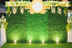 Luxury Indoors Wedding Stage Decorate. Backdrop and blank background for input text and symbol royalty free stock images