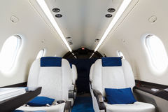 Luxury interior aircraft business aviation Stock Photos
