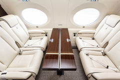 Luxury interior aircraft business aviation Royalty Free Stock Photo