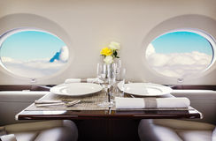 Luxury interior aircraft business aviation Royalty Free Stock Images
