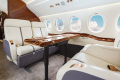 Luxury interior aircraft business aviation Stock Image