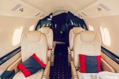 Luxury interior aircraft business aviation Stock Images