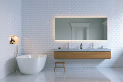 Luxury interior bathroom with bricks walls. 3d render. Stock Images