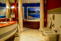 Luxury interior bathroom Suite at Burj al Arab royalty free stock photo