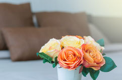 Luxury Interior bedroom with artificial rose flower on bed Stock Photography