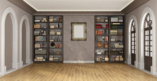 Luxury interior with bookcase Stock Photos