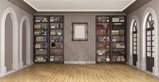 Luxury interior with bookcase Stock Photos