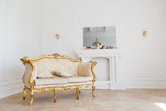 Luxury Interior classic vintage style for living room. Luxury Interior style for living room. White and gold Stock Images