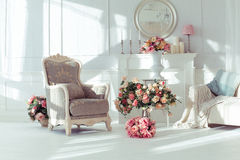 Luxury interior. Luxury clean bright white interior Royalty Free Stock Image