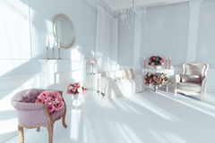 Luxury interior. Luxury clean bright white interior Stock Images