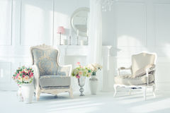 Luxury interior. Luxury clean bright white interior Royalty Free Stock Images