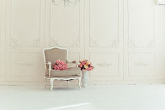 Luxury interior. Luxury clean bright white interior Stock Photography