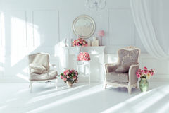 Luxury interior. Luxury clean bright white interior Stock Image