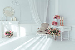 Luxury interior. Luxury clean bright white interior Stock Photo