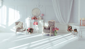 Luxury interior. Luxury clean bright white interior Stock Photos