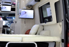 Luxury interior decoration in Mercedes Benz mobile home car. Bangkok - April 2 :luxury interior decoration in Mercedes Benz mobile home car : in display at The Royalty Free Stock Photography