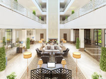 Luxury interior design lounge area of the hotel. Royalty Free Stock Images