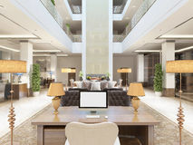 Luxury interior design lounge area of the hotel. Royalty Free Stock Photos