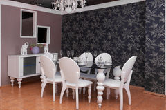 Luxury interior of dining room Royalty Free Stock Photos