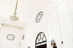 Luxury interior hall with chandelier royalty free stock photo