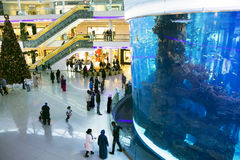 Luxury interior  modern shopping center Morocco Mall Stock Photos