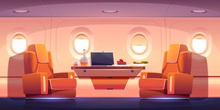 Free Luxury Interior Of Private Jet With Armchairs Stock Photo - 178970180