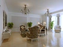 Luxury interior of rich lounge Stock Photos