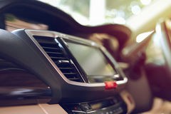 Luxury interior vehicle in modern car. Luxury interior vehicle inside modern car, selective focus on air condition cooling fresh Royalty Free Stock Images